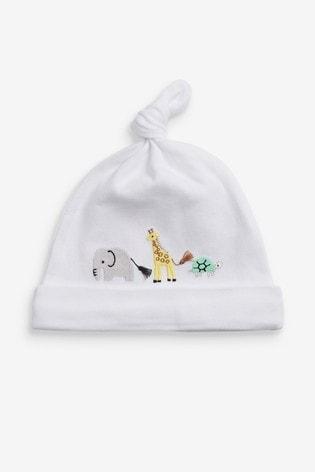 White 3 Pack GOTS Organic Safari Tie Top Hat (0-12mths)