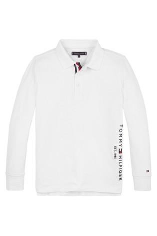 Tommy Hilfiger White Established Long Sleeve Polo