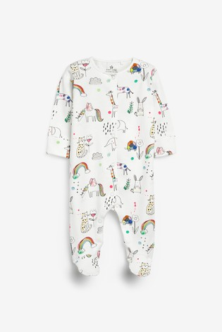 Teal 3 Pack Rainbow Sleepsuits (0mths-2yrs)
