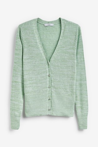 Green Ribbed Co-Ord Cardigan