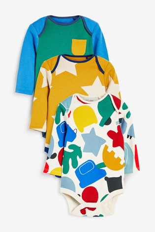Bright 3 Pack Colourblock Long Sleeve Bodysuits (0mths-3yrs)