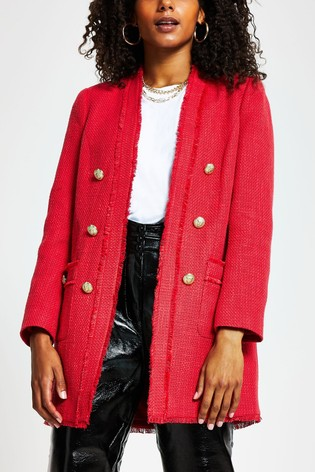 River Island Red Bouclé Button Front Jacket
