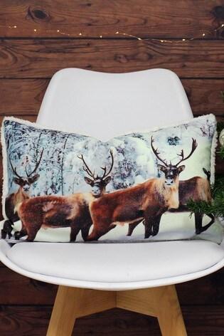 Riva Home Cream Glitter Stag Cushion