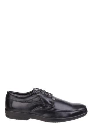Fleet & Foster Black Dave Apron Toe Oxford Formal Shoes