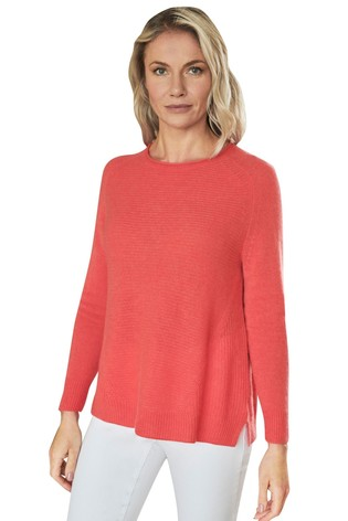 Pure Collection Orange Organic Cashmere Soft Textured Sweater