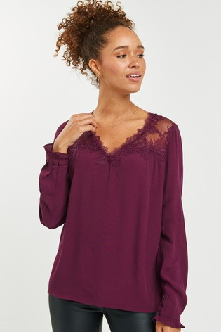 Berry Long Sleeve Lace Top