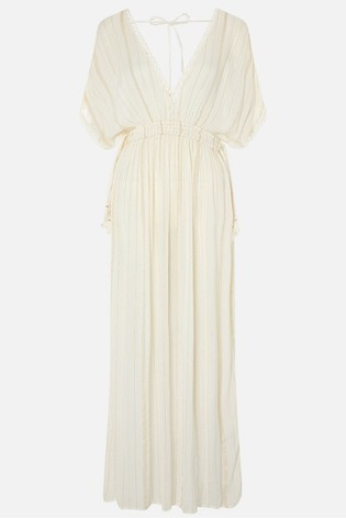 Accessorize Cream Metallic Maxi Kaftan Dress