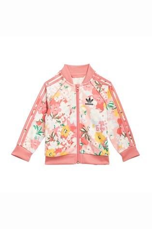 adidas Originals Infant Pink Floral Superstar Tracksuit