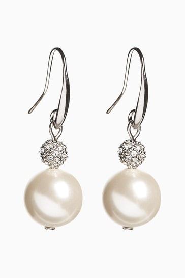 Pearl Pavé Crystal Drop Earrings