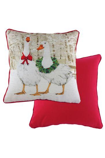 Goose Velvet Christmas Cushion by Evans Lichfield