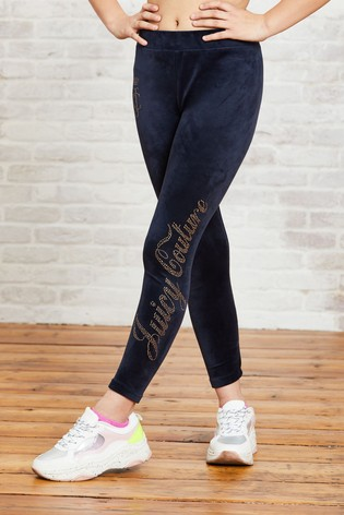 Juicy Couture Luxe Velour Diamanté Leggings