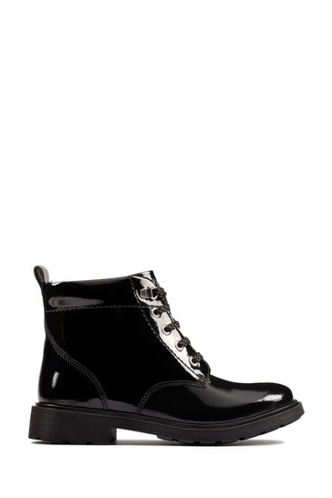 Clarks Black Pat Astrol Lace Boots