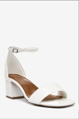 White Extra Wide Fit Forever Comfort® Simple Block Heel Sandals