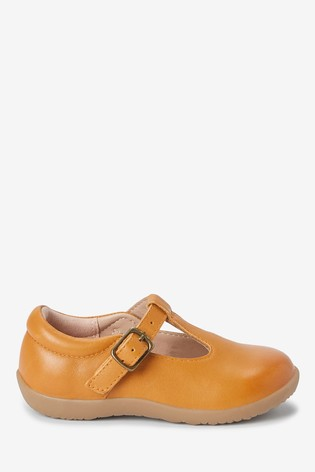 Ochre Leather Standard Fit (F) Little Luxe™ T-Bar Shoes
