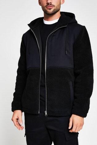 River Island Black Reg Nylon Borg Funnel Hood Jacket