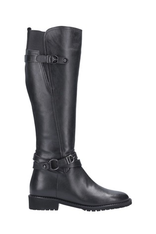 Riva Black Athens Leather Buckle Zip Long Boots