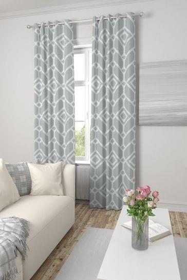 Lattice Geo Grey Made To Measure Curtains