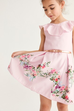 Baker by Ted Baker Girls Lilac Floral Border Print Dress