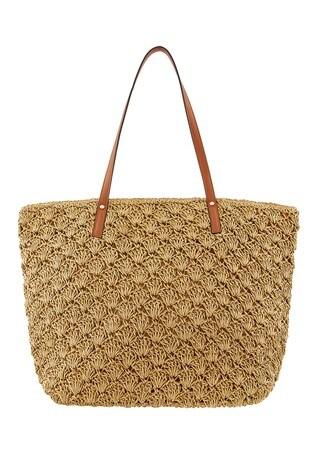 Accessorize Natural Raffia Coloured Strap Shoulder Bag