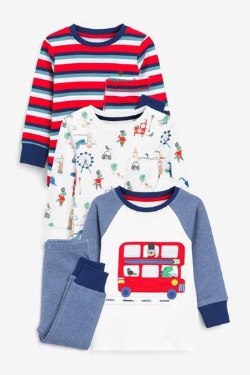 White/Blue/Red London Dino 3 Pack Snuggle Pyjamas (9mths-12yrs)