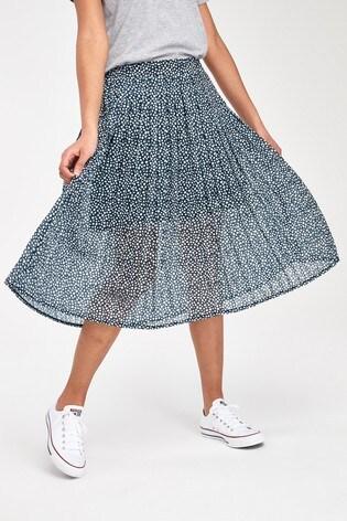 Superdry Navy Ditsy Pleat Skirt