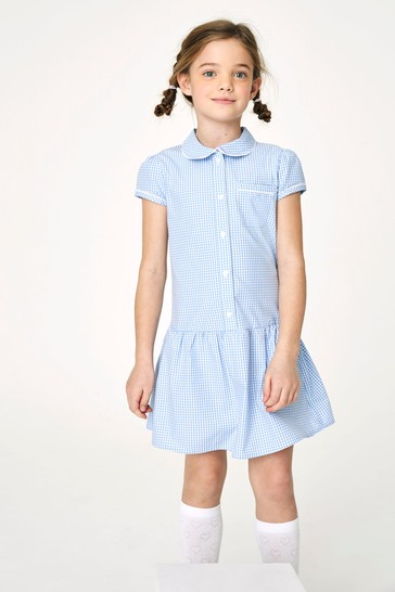 Blue Drop Waist Gingham Dress (3-14yrs)