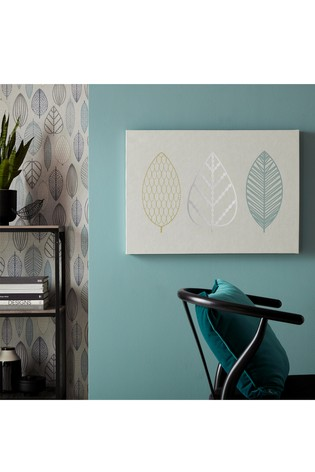 Scandi Leaf Trio Canvas by Art For The Home