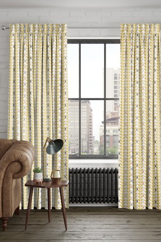 Prism Geo Ochre Yellow Made To Measure Curtains