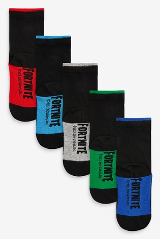 Black 5 Pack Cotton Rich Fortnite Socks (Older)
