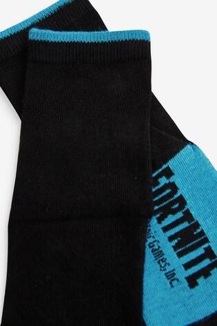 Black 5 Pack Cotton Rich Fortnite Socks