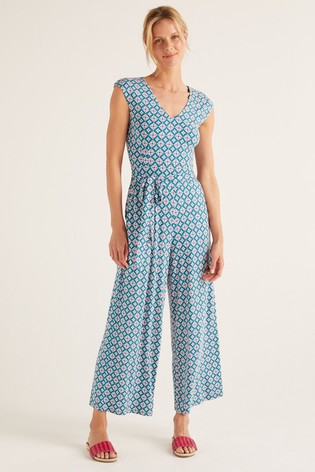 Boden Blue Corinne Jersey Jumpsuit