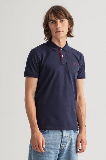 GANT Blue Contrast Collar Polo Shirt