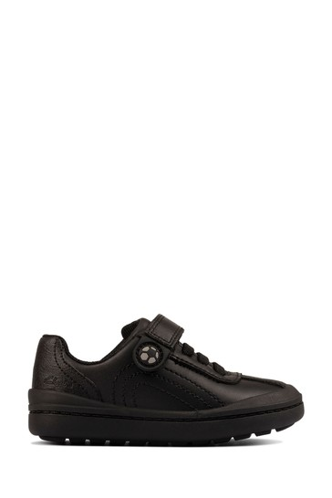 Clarks Black Leather Rock Pass Toddlers Shoes