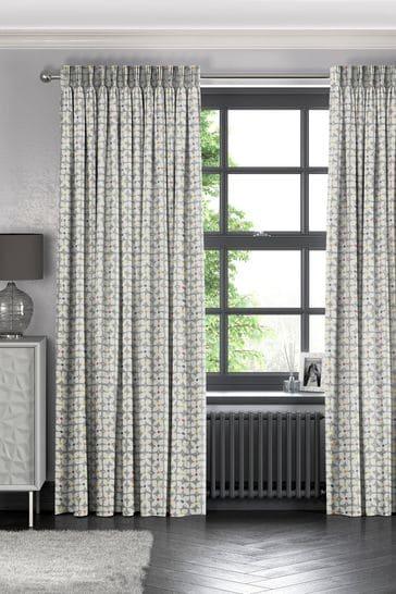 Grey Retro Geo Flower Made To Measure Curtains