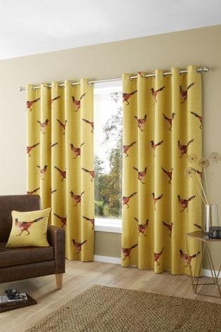 Fusion Yellow Pheasant Eyelet Curtains