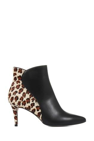 Jones Bootmaker Isabella Leather Animal Print Ankle Boots