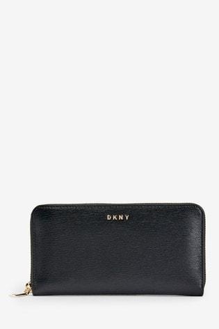 DKNY Black Bryant Park Zip Around Purse