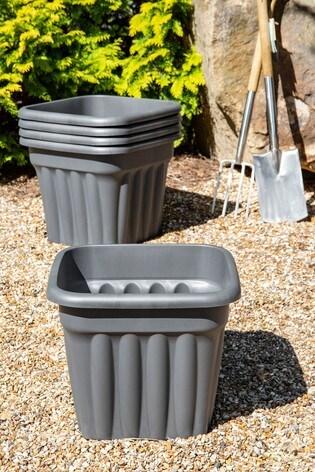 Set of 5 Wham Vista 49cm Black Plastic Square Planters