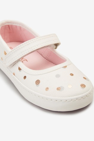 White Canvas Mary Jane Shoes (Younger)