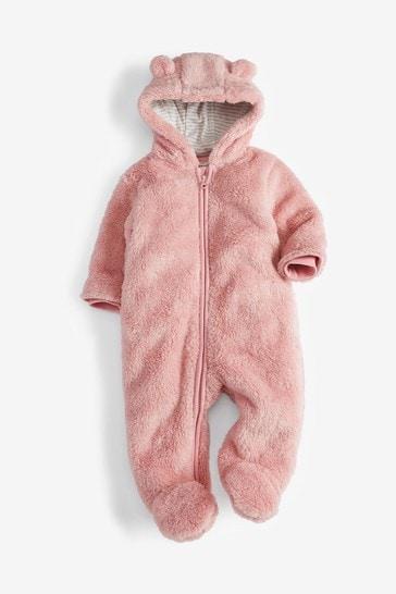 Pink Personalised Bear Pramsuit