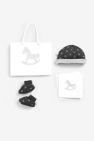 The Little Tailor Grey Jersey Hat & Bootie Gift Set
