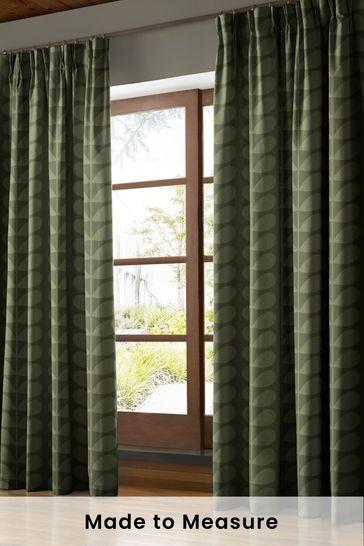 Jacquard Stem Khaki Green Made To Measure Curtains by Orla Kiely