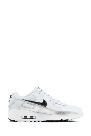 Nike White/Black Air Max 90 Youth Trainers