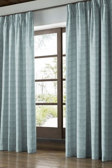 Jacquard Stem Mid Powder Blue Made To Measure Curtains by Orla Kiely