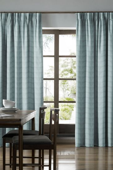 Jacquard Stem Mid Powder Blue Made To Measure Curtains by Orla Kiely