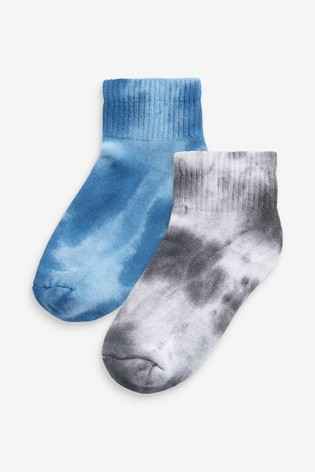 Monochrome/Blue Tie Dye Ribbed Trainer Socks Two Pack