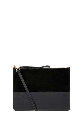 Accessorize Black Carmela Leather Cross Body Bag