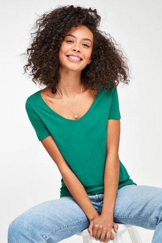 Teal Slouch V-Neck T-Shirt