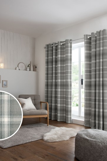 Grey Cosy Check Eyelet Lined Curtains