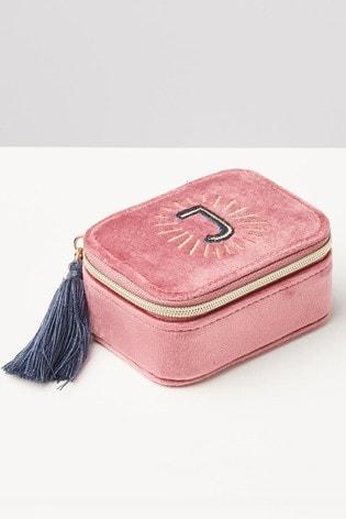 Oliver Bonas Sol Pink Velvet Alphabet J Travel Jewellery Box